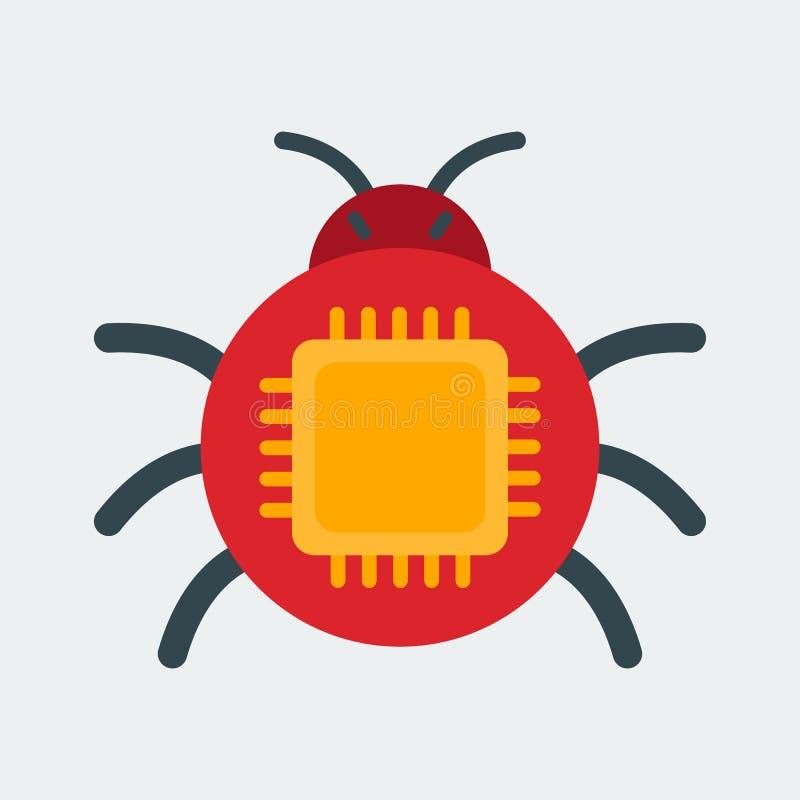 Icono del insecto del ordenador El símbolo de la abducción de la propiedad intelectual El concepto para el web y las aplicaciones stock de ilustración