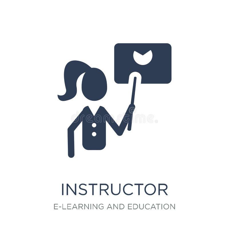 Icono del instructor Icono plano de moda del instructor del vector en el CCB blanco ilustración del vector