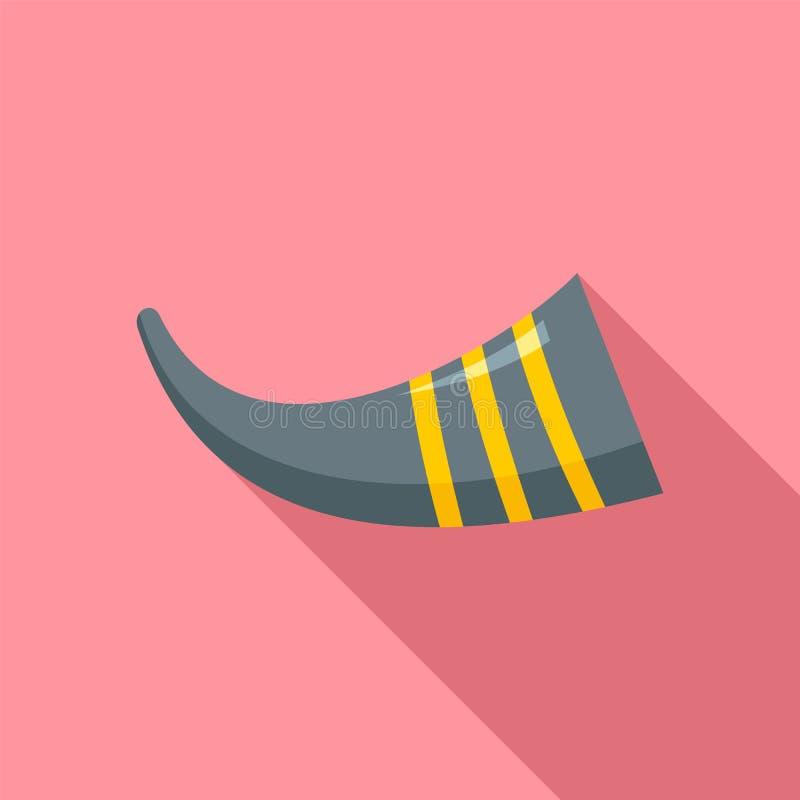 Icono del instrumento de la canción de la trompeta del maíz, estilo plano stock de ilustración