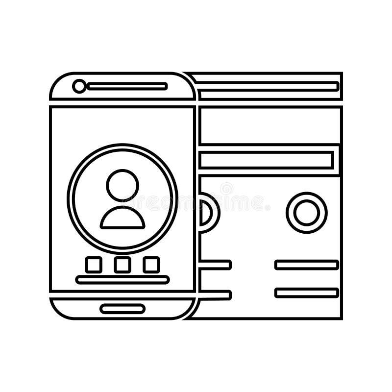 icono del interfaz adaptante Elemento de la seguridad cibernética para el concepto y el icono móviles de los apps de la web Línea ilustración del vector