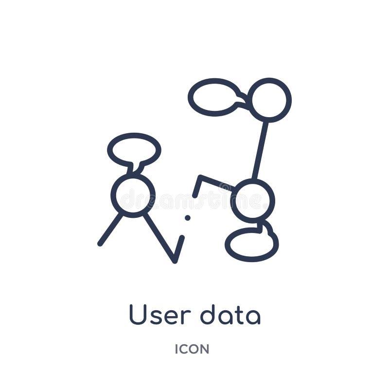icono del interfaz de discurso de los datos de usuario de la colección del esquema de la interfaz de usuario Línea fina icono del libre illustration