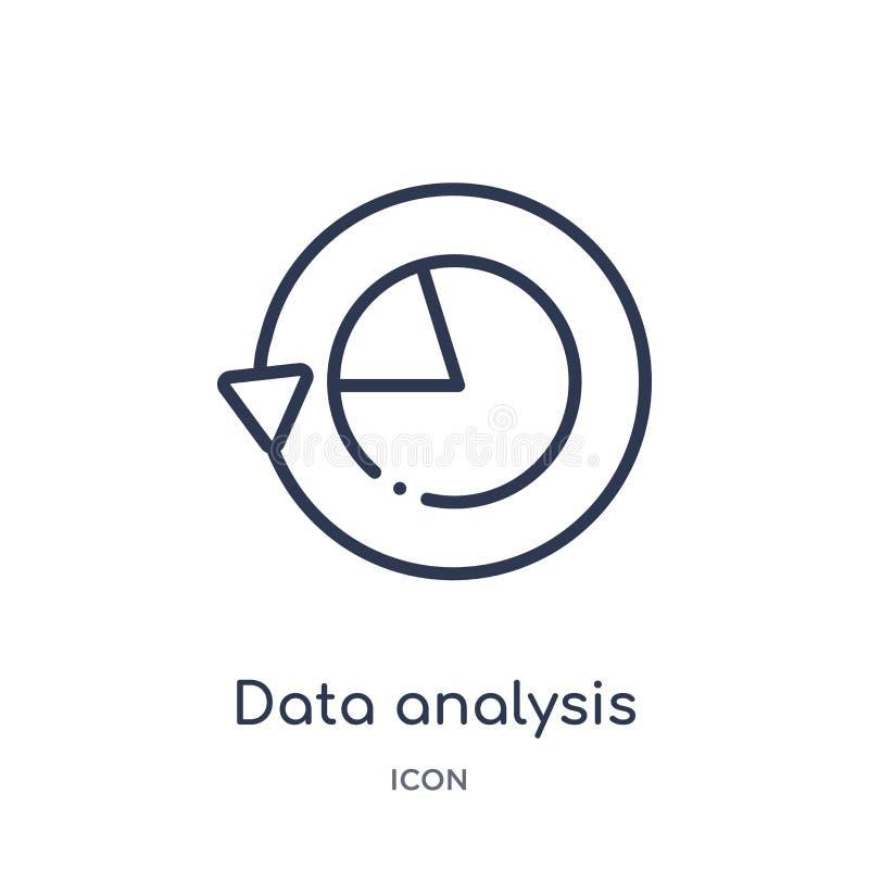icono del interfaz del gráfico de sectores del análisis de datos de la colección del esquema de la interfaz de usuario Línea fina libre illustration