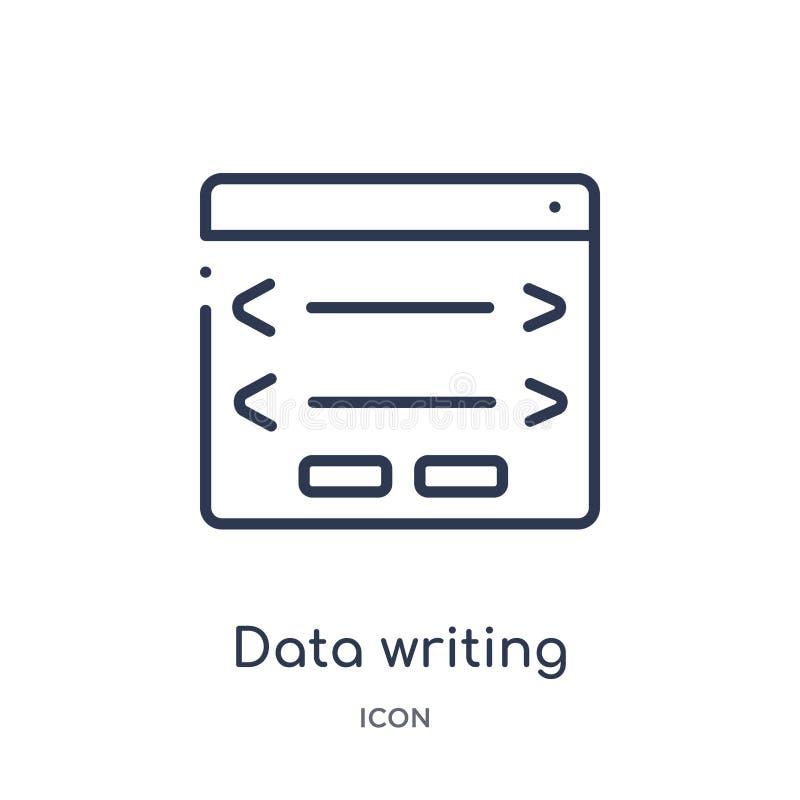 icono del interfaz del tablero de escritura de los datos de la colección del esquema de la interfaz de usuario Línea fina icono d stock de ilustración