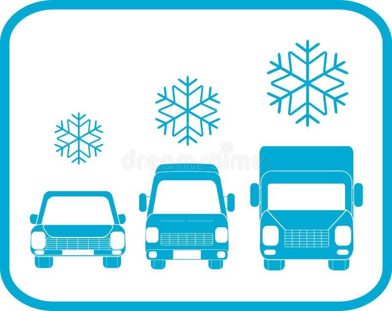 Icono del invierno con la silueta del transporte ilustración del vector