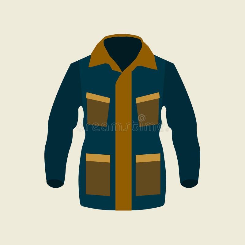 Icono del invierno de la chaqueta verde en fondo amarillo Diseño plano, ejemplo del vector stock de ilustración