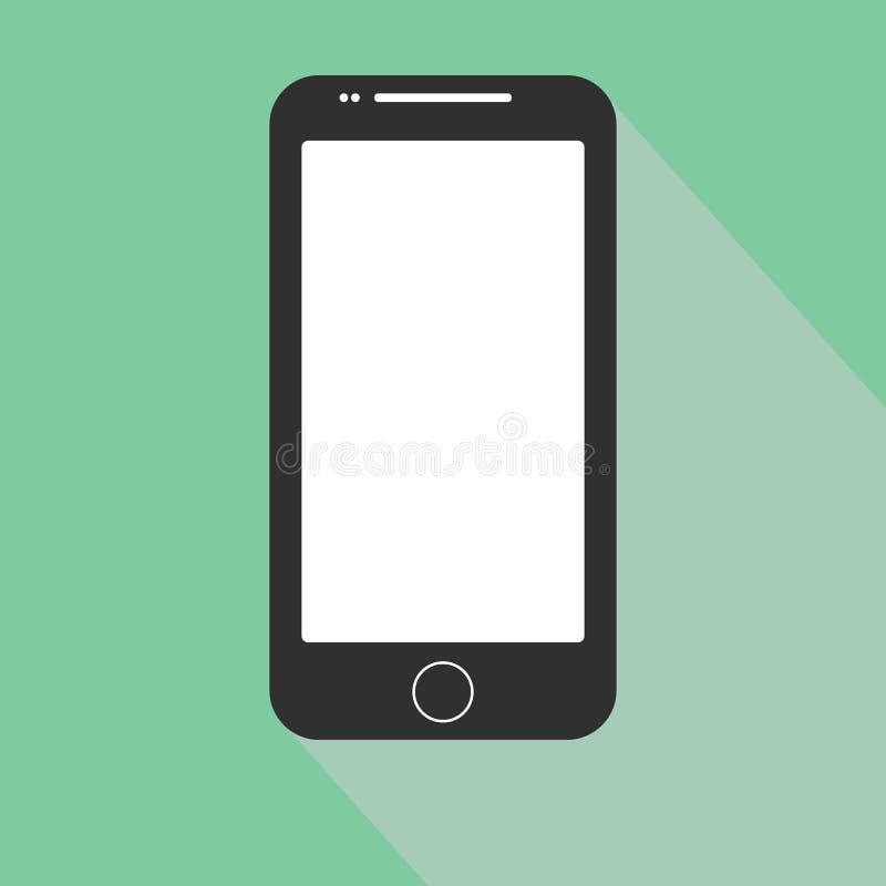 Icono del iphone de Smartphone en el diseño plano del estilo en el fondo azul Ejemplo común eps10 del vector imágenes de archivo libres de regalías