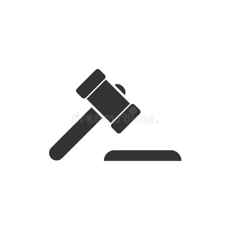 Icono del juez del martillo completamente stock de ilustración