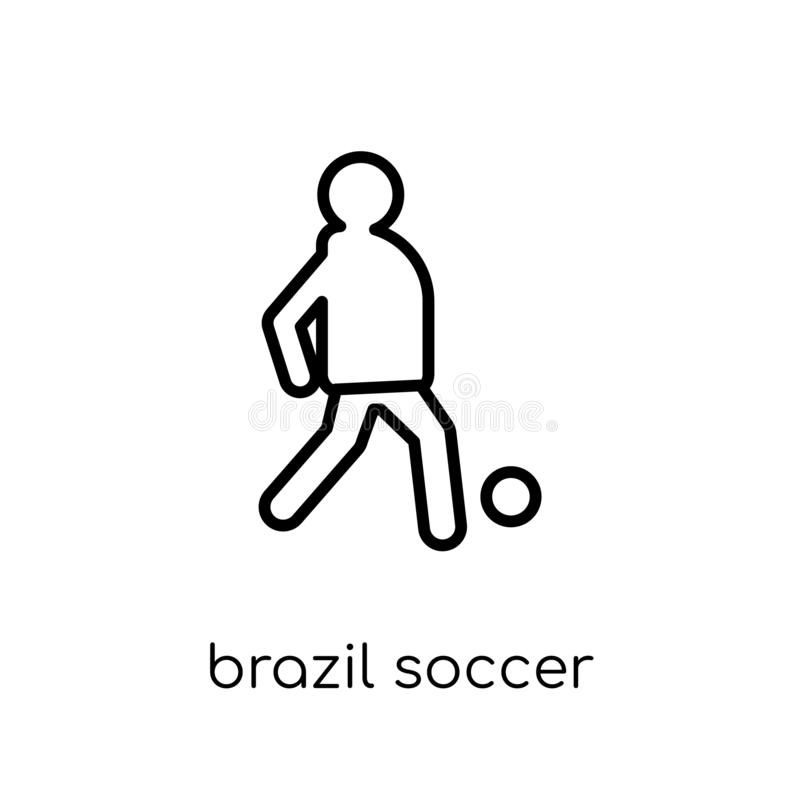 Icono del jugador de fútbol del Brasil de la colección brasileña de los iconos stock de ilustración