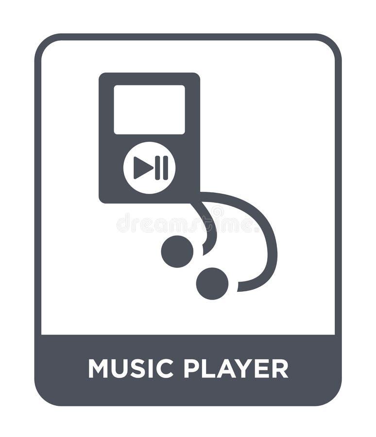 icono del jugador de música en estilo de moda del diseño Icono del jugador de música aislado en el fondo blanco icono del vector  stock de ilustración