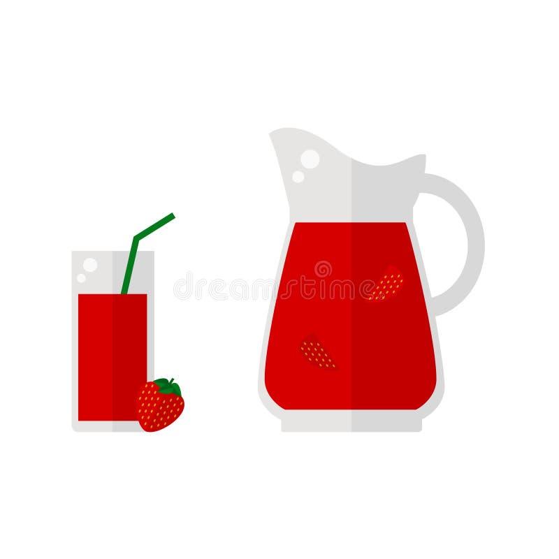 Icono del jugo de la fresa aislado en el fondo blanco ilustración del vector