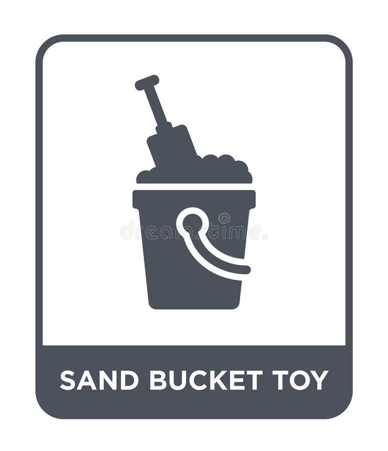 icono del juguete del cubo de la arena en estilo de moda del diseño icono del juguete del cubo de la arena aislado en el fondo bl libre illustration