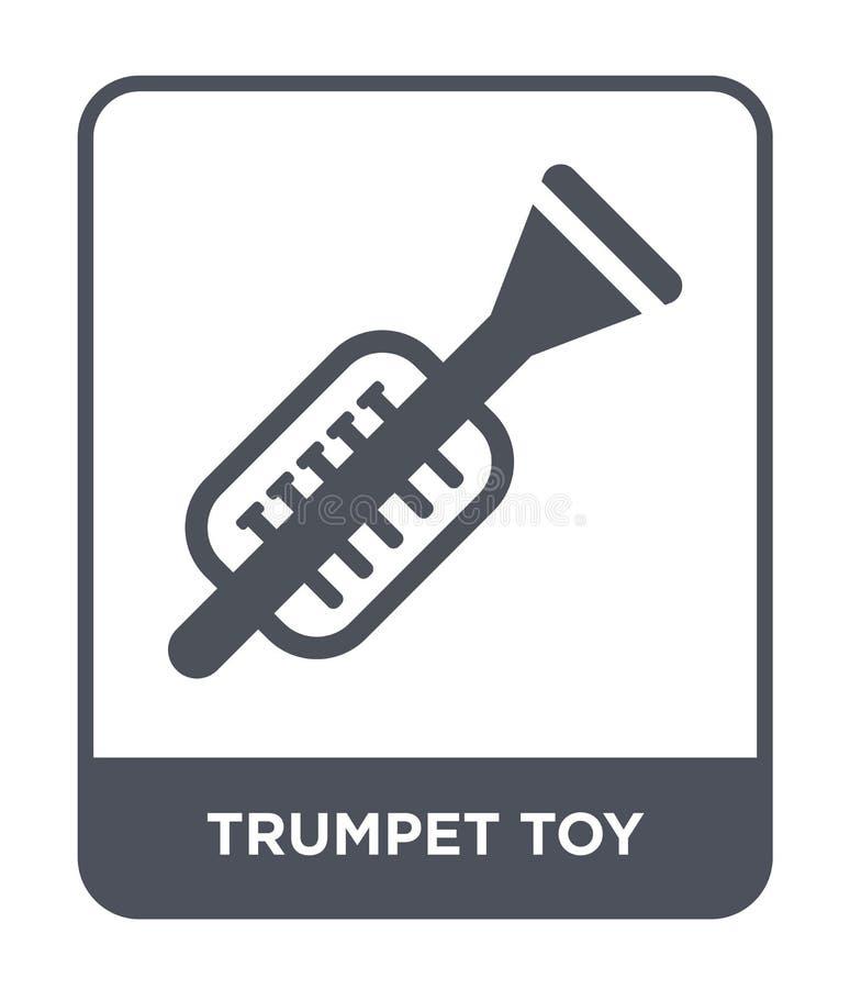 icono del juguete de la trompeta en estilo de moda del diseño icono del juguete de la trompeta aislado en el fondo blanco icono d ilustración del vector