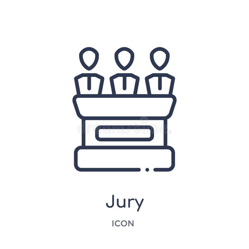 Icono del jurado linear de la colección del esquema de la ley y de la justicia Línea fina icono del jurado aislado en el fondo bl stock de ilustración