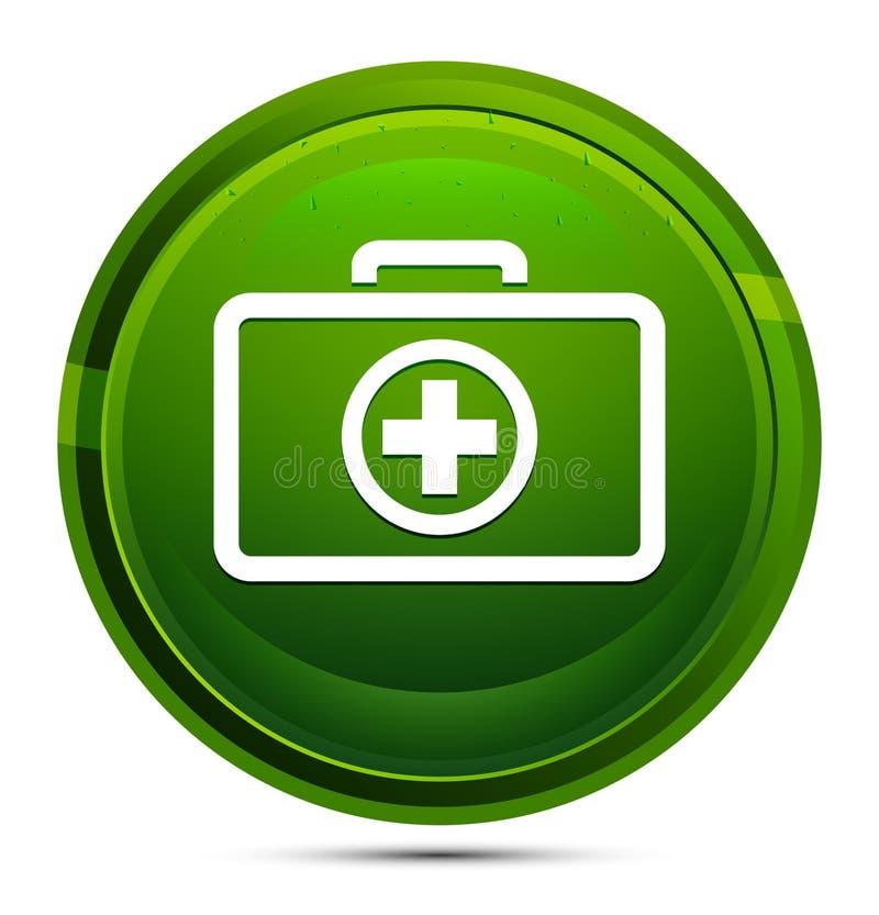 Icono del kit de primeros auxilios Ilustración del botón verde redondeado ilustración del vector