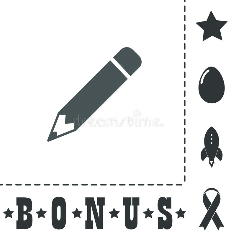 Icono del lápiz, diseño plano ilustración del vector