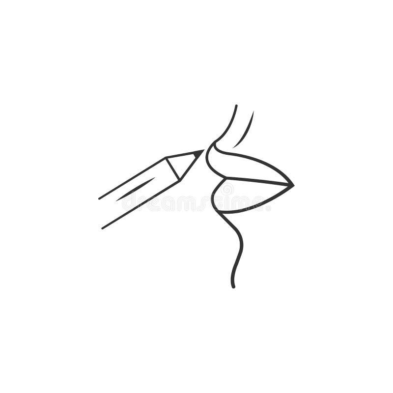 Icono del lápiz del labio Elemento del icono del maquillaje de la mujer para los apps móviles del concepto y de la web El icono d stock de ilustración