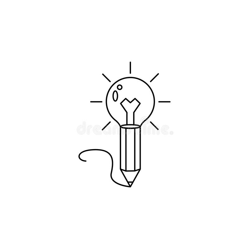 icono del lápiz y de la bombilla Elemento de la idea y de las soluciones para los apps móviles del concepto y del web Línea fina  stock de ilustración