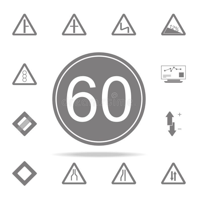 Icono del límite 60 de la velocidad máxima sistema universal de los iconos del web para el web y el móvil ilustración del vector
