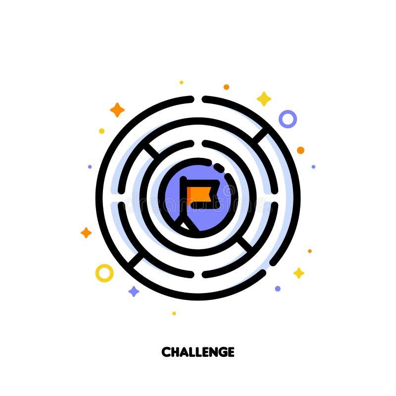 Icono del laberinto o del laberinto redondo para el concepto del desafío del negocio stock de ilustración