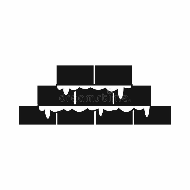 Icono del ladrillo, estilo simple ilustración del vector