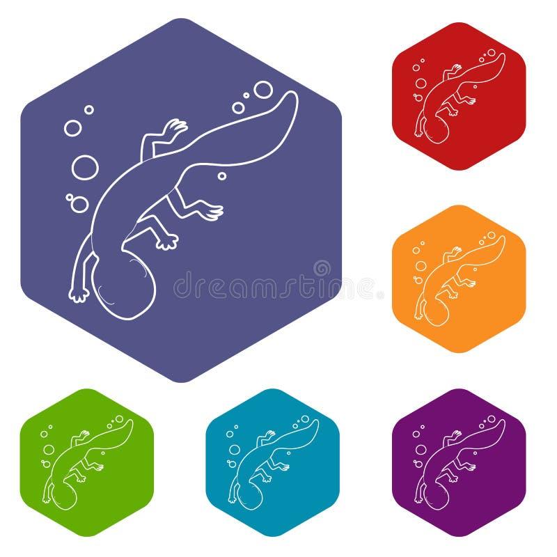 Icono del lagarto de la nataci?n, estilo del esquema libre illustration