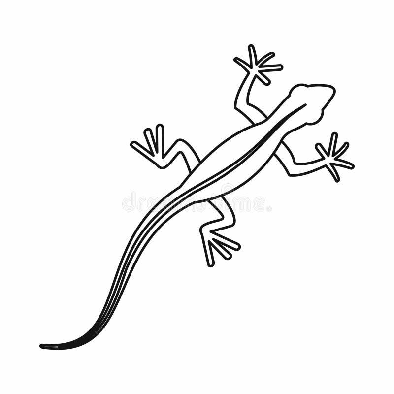Icono del lagarto, estilo del esquema stock de ilustración