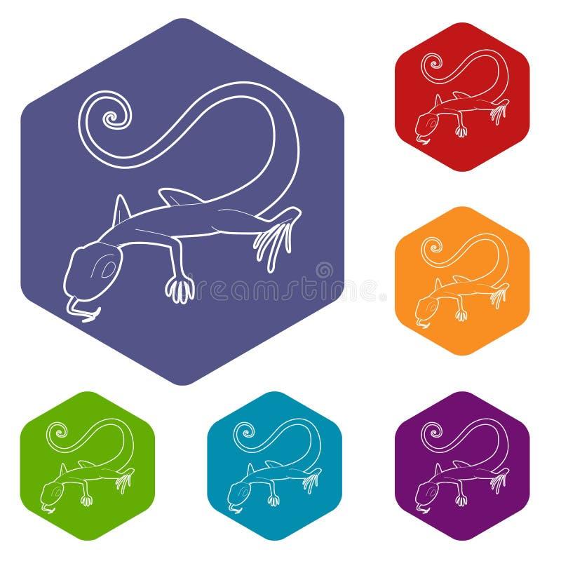 Icono del lagarto, estilo del esquema ilustración del vector