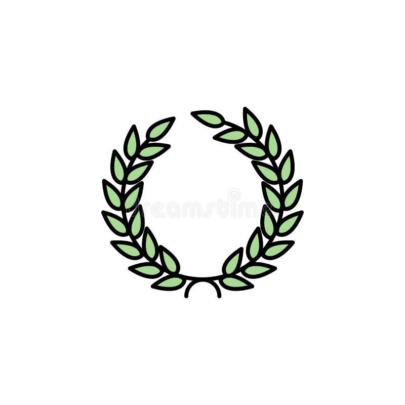 Icono del laurel Elemento del icono de Grecia antigua del color para los apps móviles del concepto y de la web El icono coloreado stock de ilustración