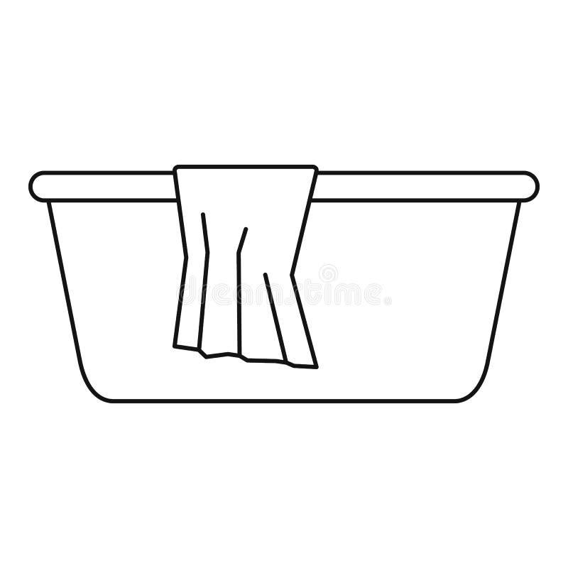 Icono del lavabo, estilo del esquema ilustración del vector