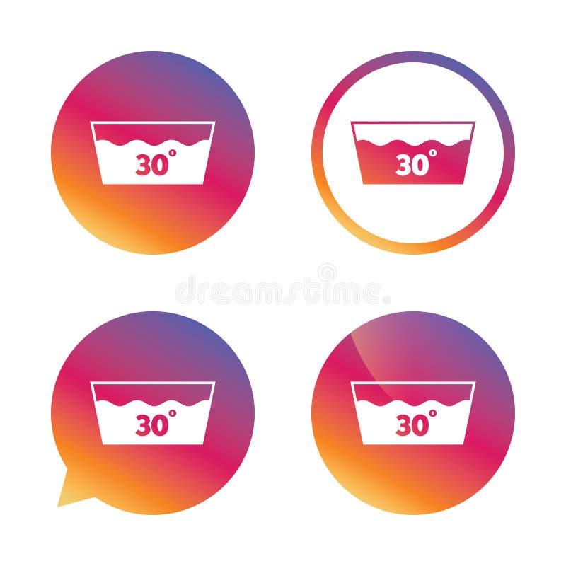 Icono del lavado Lavable a máquina en 30 grados de símbolo ilustración del vector