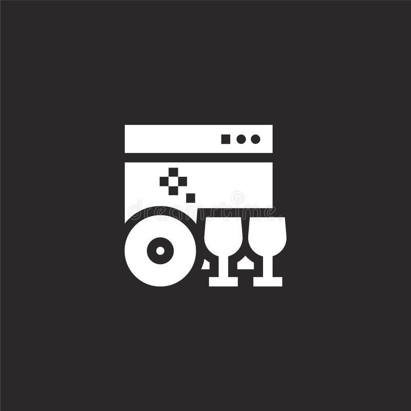 Icono del lavaplatos Icono llenado del lavaplatos para el diseño y el móvil, desarrollo de la página web del app icono del lavapl stock de ilustración