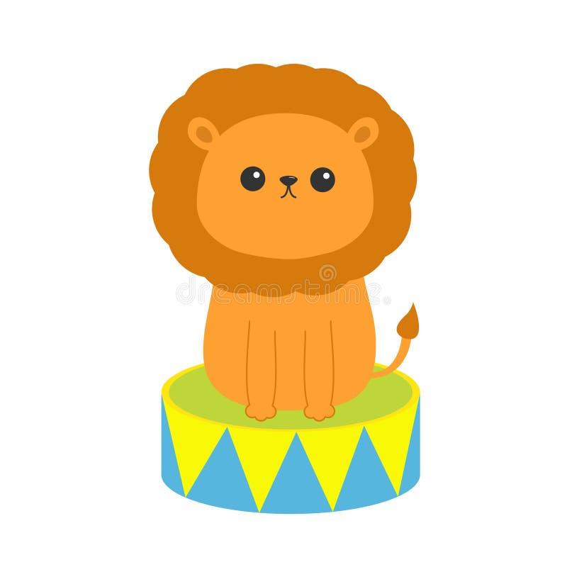 Icono del león que se sienta en el tambor Carácter divertido del circo de la historieta linda Colección del animal del bebé Impre stock de ilustración