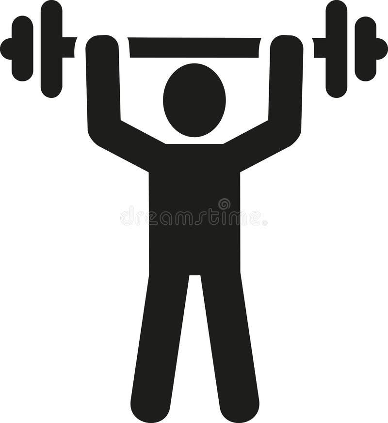 Icono del levantamiento de pesas stock de ilustración