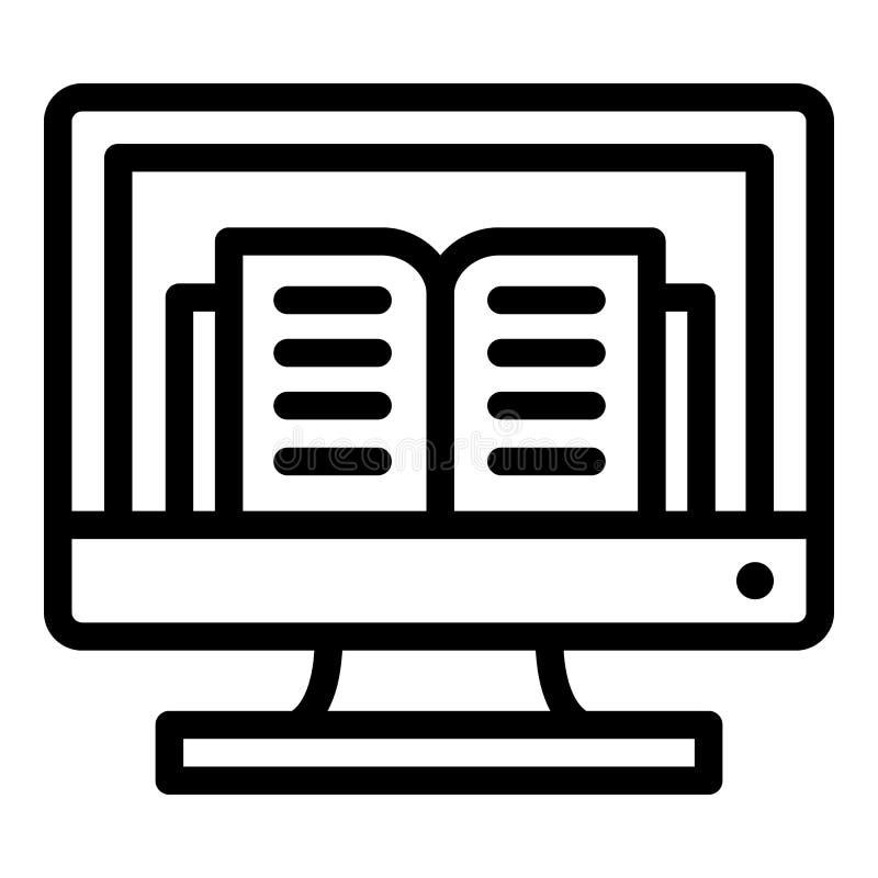 Icono del libro de Internet del ordenador, estilo del esquema stock de ilustración