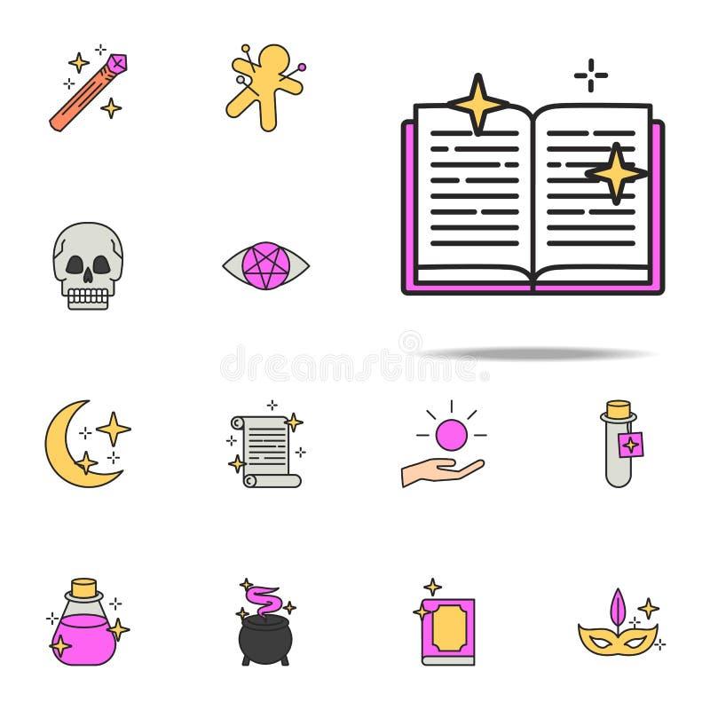 icono del libro de la brujería sistema universal de los iconos mágicos para la web y el móvil ilustración del vector