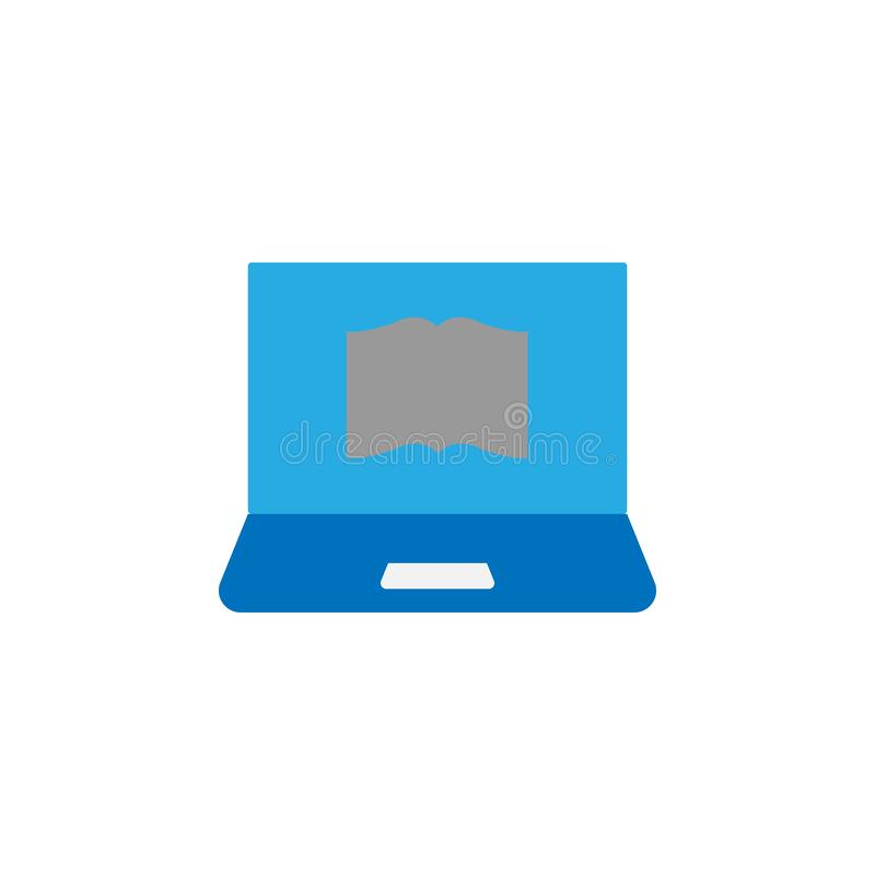 Icono del libro y del ordenador Elemento del icono de la educación para los apps móviles del concepto y del web El icono detallad stock de ilustración