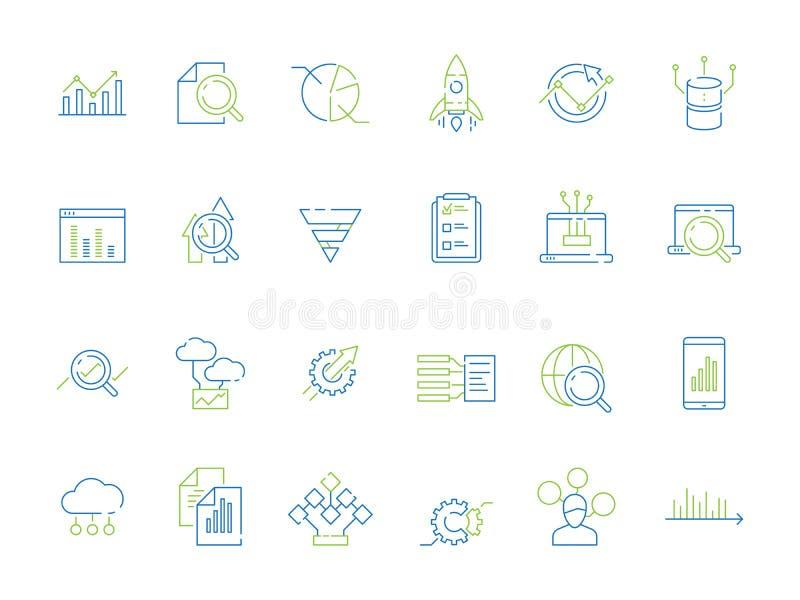 Icono del an?lisis de negocio Gráficos del diagrama de la estrategia del encargado del analizador subido de tono de los datos de  ilustración del vector