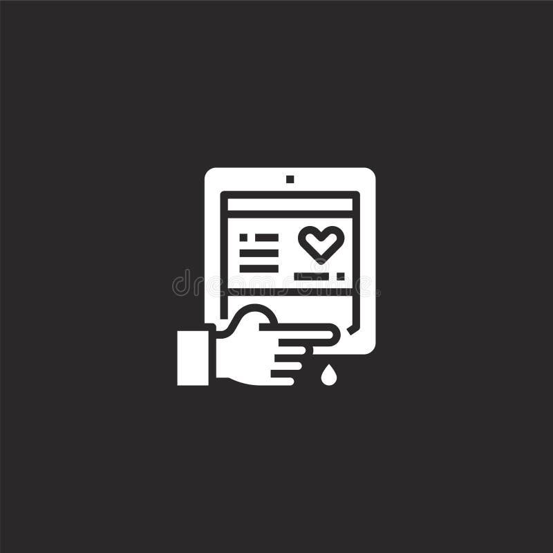 Icono del an?lisis de sangre Icono llenado del análisis de sangre para el diseño y el móvil, desarrollo de la página web del app  ilustración del vector