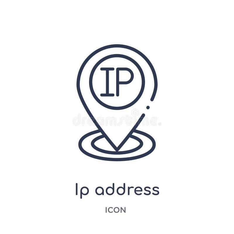 icono del localizador del punto del IP address de la colección del esquema de la tecnología Línea fina icono del localizador del  libre illustration