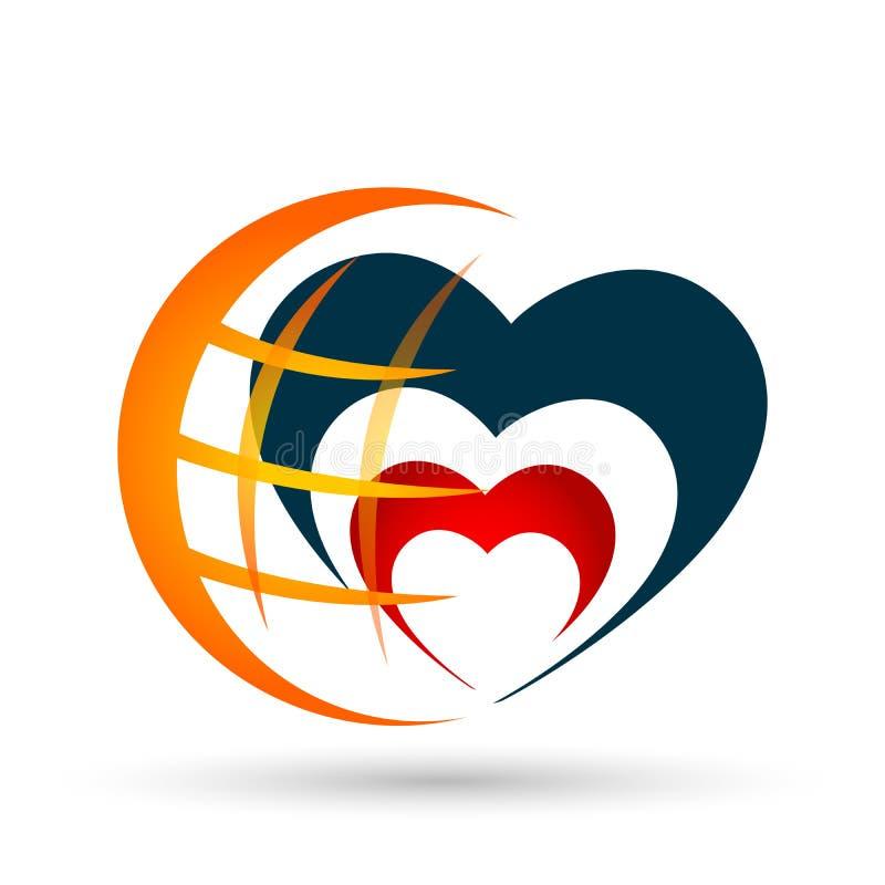 Icono del logotipo del amor del corazón del mundo del globo en el fondo blanco libre illustration