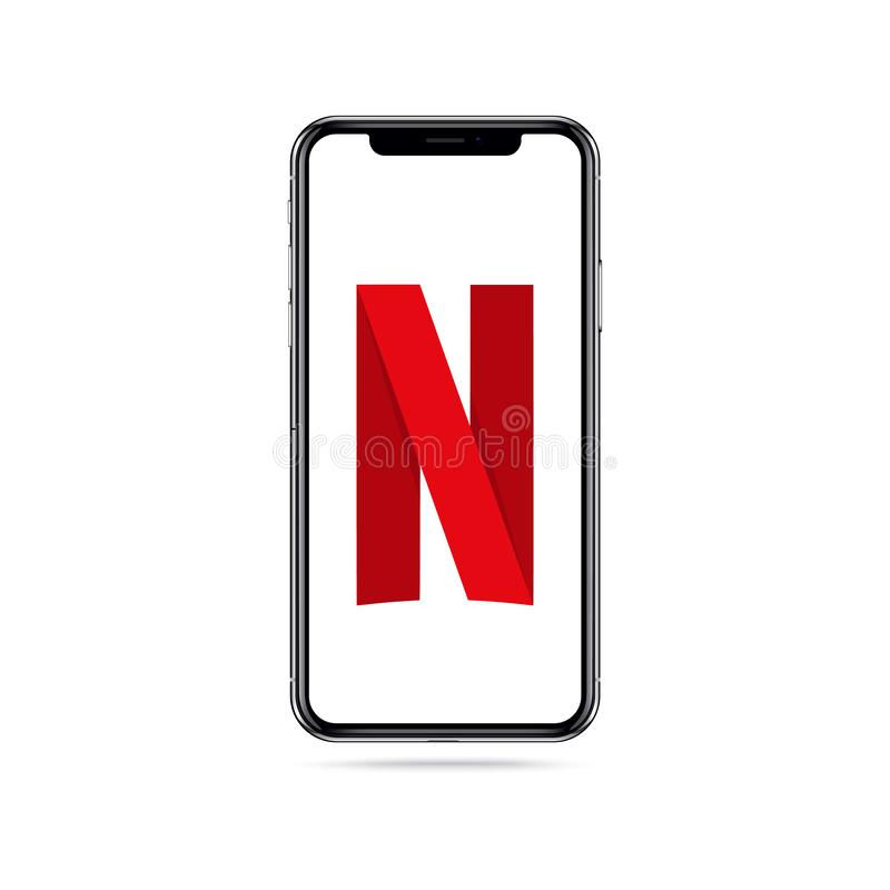 Icono del logotipo del app de Netflix en la pantalla del iphone libre illustration