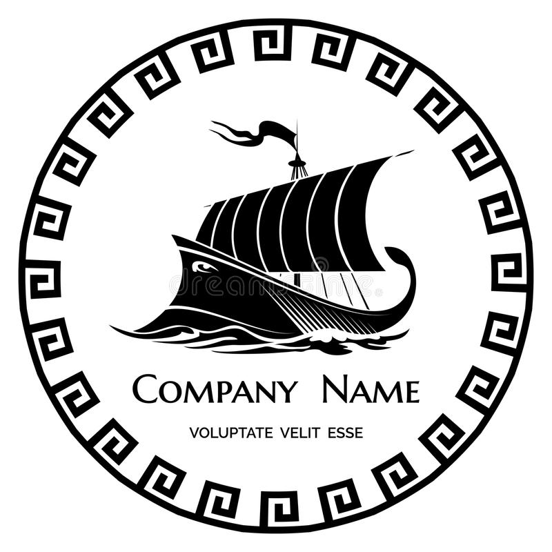 Icono del logotipo de la galera del griego clásico stock de ilustración