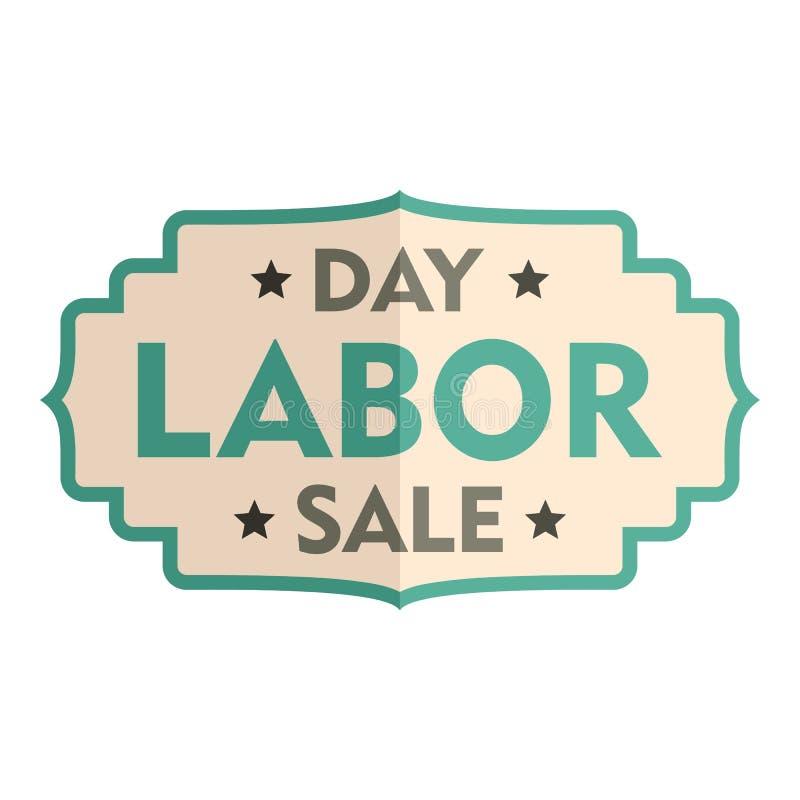 Icono del logotipo de la insignia de la venta del Día del Trabajo, estilo plano ilustración del vector