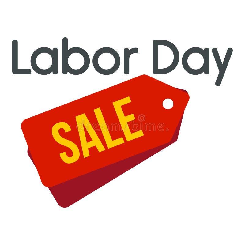 Icono del logotipo de la venta de la insignia del Día del Trabajo, estilo plano stock de ilustración