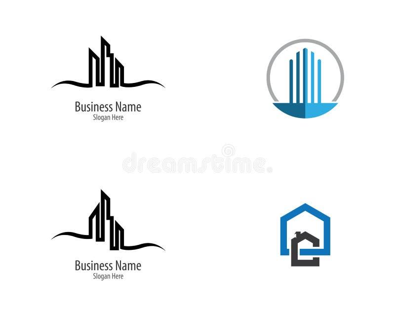 Icono del logotipo de las propiedades inmobiliarias stock de ilustración