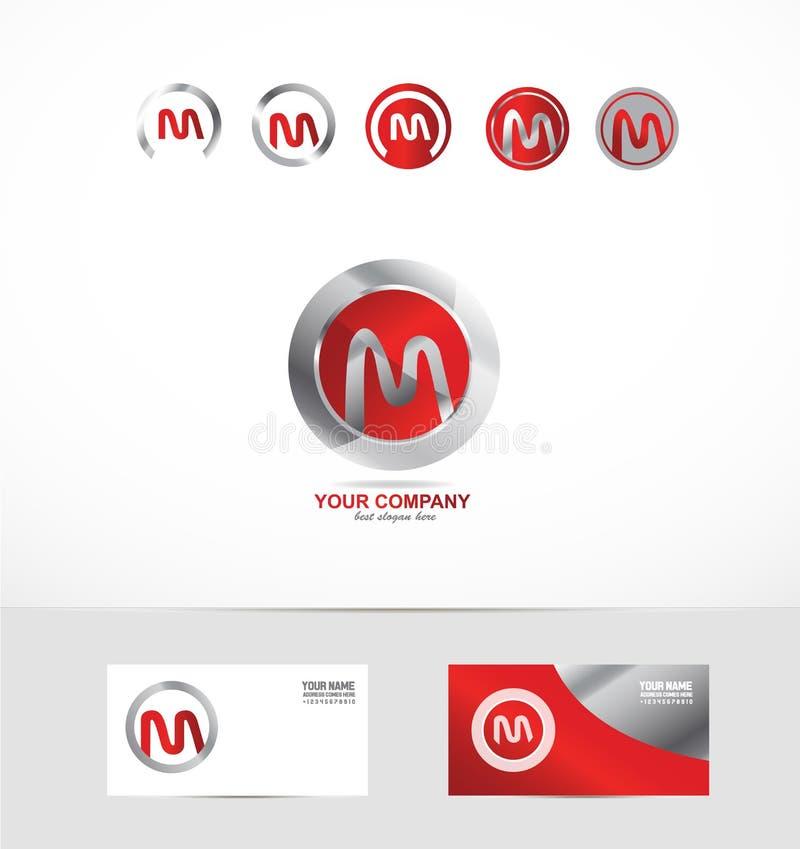 Icono del logotipo del círculo del metal de la letra M libre illustration