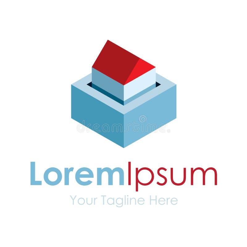 Icono del logotipo del diseño gráfico del concepto de las propiedades inmobiliarias de la casa segura stock de ilustración