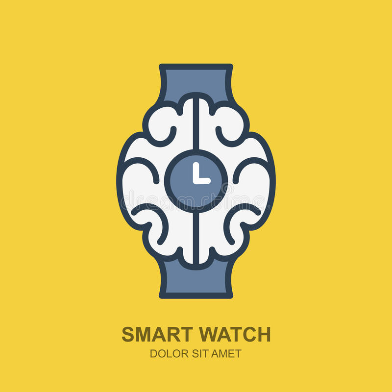 Icono del logotipo del vector con el cerebro y el reloj Esquema elegante del reloj plano libre illustration