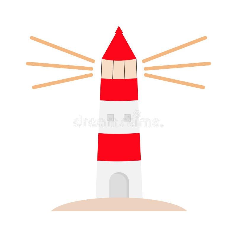 Icono del logotipo del faro Iluminación de la trayectoria Casa ligera que brilla Edificio blanco rojo Arquitectura marítima de la libre illustration