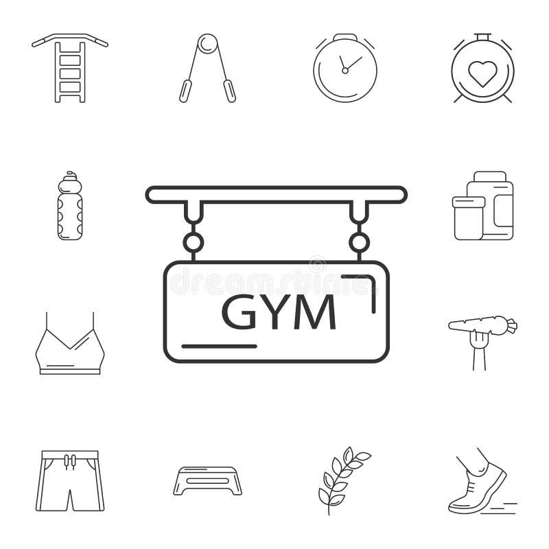 Icono del logotipo del gimnasio Ejemplo simple del elemento Diseño del símbolo del logotipo del gimnasio sistema de la colección  stock de ilustración